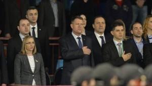Marius Vecerdea alaturi de Presedintele Klaus Iohannis, la meciul Simonei Halep din cadrul intalnirii Fed Cup, Romania-Spania.