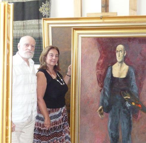Ileana Costea în vizită la atelierul Maestrului Vladimir Zamfirescu, Bucureşti, vara 2009 (1).