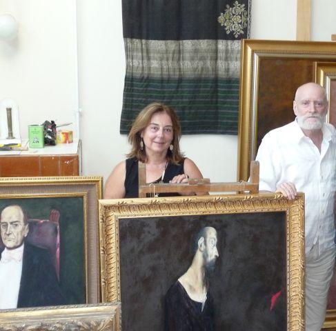Ileana Costea în vizită la atelierul Maestrului Vladimir Zamfirescu, Bucureşti, vara 2009. (2)