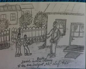 Mihai Eisikovits:Învăţător şi elevi în curtea heiderului din Gherla